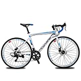 XC760 Cyrusher Road Bike For Man&Woman 52cm Lightweight Aluminium Frame Road Bike Commuter Bike 700c Tire -Tourney ST-A070 Shifting System 14 Speeds Disc Brakes (U.S. WAREHOUSE)