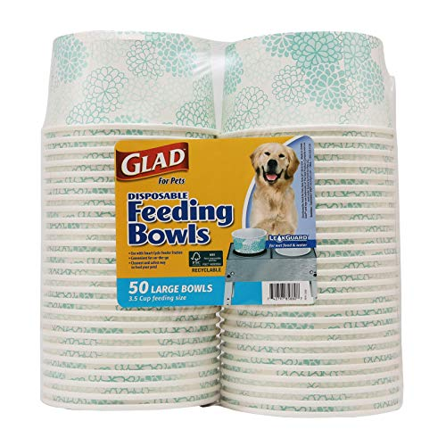 Glad for Pets Disposable Feeding Bowls | Large Dog Bowls in Teal Pattern | 3.5 Cup Feeding Size, 50 Count