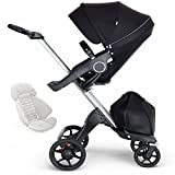 Stokke Xplory V6 Silver Chassis Stroller with Black Leatherette Handle - Black with Seat Inlay - Grey