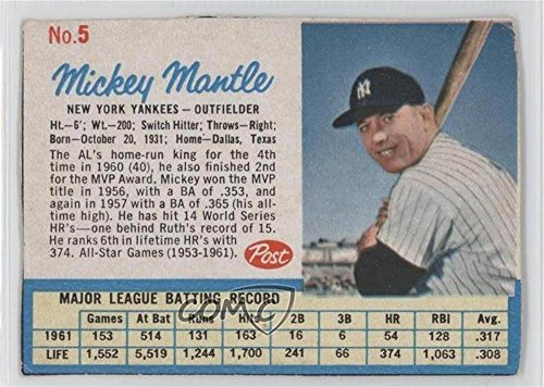 Mickey Mantle COMC REVIEWED Good to VG-EX (Baseball Card) 1962 Post #5