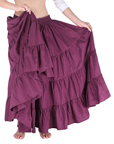 Gypsy Girl Outfits (Pleated Full Circle Long Skirt for Girls Gypsy Style Dark Red)