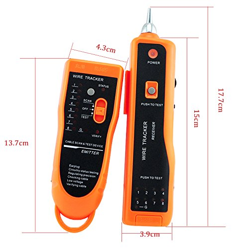 Zinnor Cable Tester Wire Tracker RJ45 RJ11Line Finder Handheld Cable Tester for Ethernet Network Cable Collation, Telephone Line Test, Continuity Checking by Zinnor (Image #7)