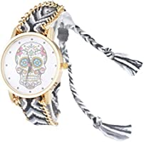Souarts Womens Velvet Skull Adjustable Weave Bracelet Round Wrist Watch Black