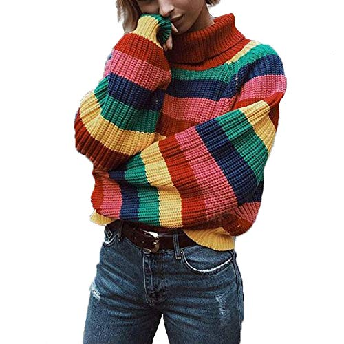 Cimeiee Womens Long Sleeve Striped Rainbow Striped Top Turtleneck Knitted Sweater Jumper Shirt