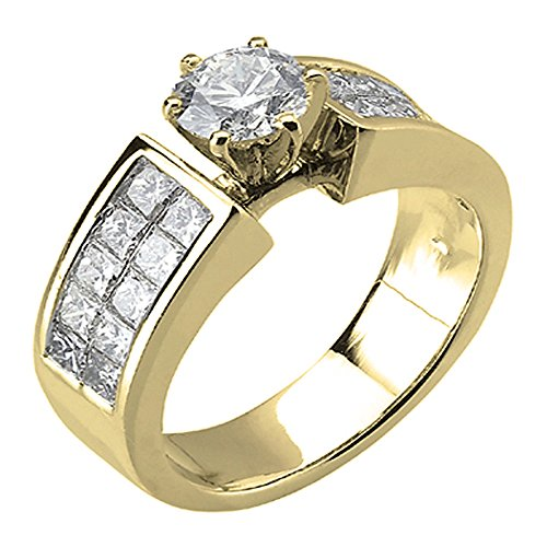 1.50 Carat (ctw) 14K Yellow Gold Princess Cut Diamond Semi Mount Engagement Ring 1 1/2 ()