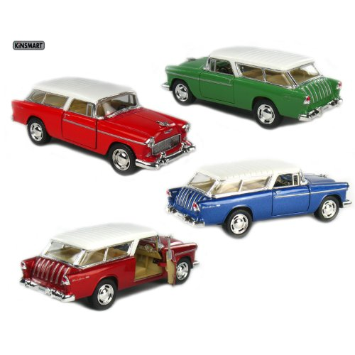 Set of 4: 5 1955 Chevy Nomad 1:40 Scale (Blue/Green/Metallic Red/Red) by - Toy 50s