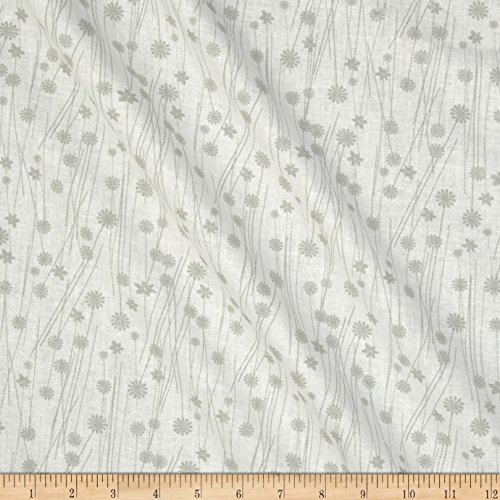 Santee Print Works Get Back Flowers Grey/White Fabric by The Yard