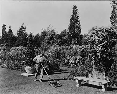 ClassicPix Photo Print 20x24: Gardener Pushing Lawn Mower, Posed to Illustrate Rudyard Kipling's.