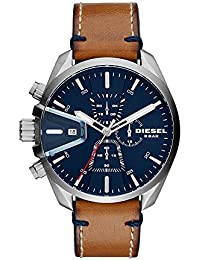 Men's 'Ms9 Chrono' Quartz Stainless Steel and Leather Casual Watch, Color:Brown (Model: DZ4470)