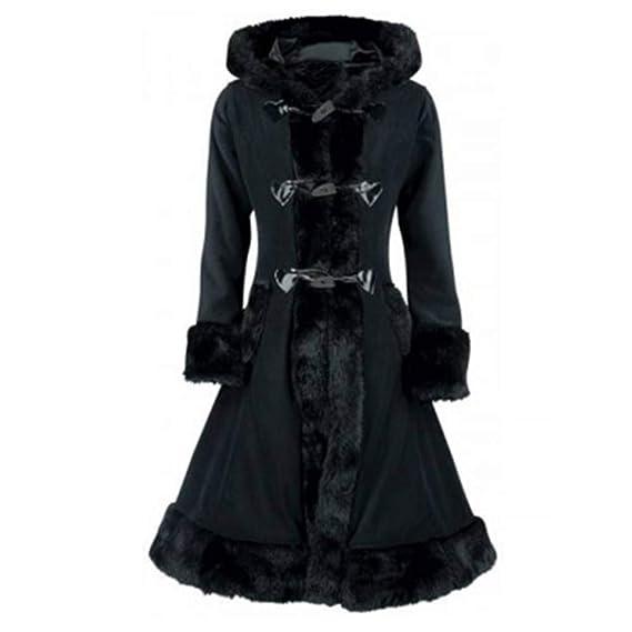 acheter populaire 32aa9 0e4b2 FNKDOR Manteau à Capuche Femmes Vintage Punk Gothique Noble Manteaux en  Laine Artificielle à Manches Longue avec Poche Hiver Chaud Trench Coat