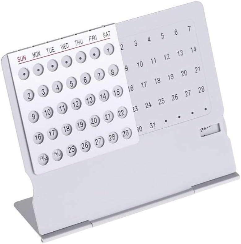 1pc Mini Ultra-Delgado De Escritorio De Aluminio Calendario Calendario Perpetuo S/úper /Único para /Útiles Escolares Y Oficina En Casa