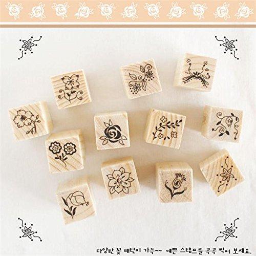 sica-12pcs-box-diy-wood-rubber-stamp-set-seal-flower-diary-scrapbooking-gift-decor