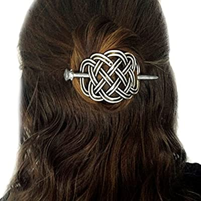 Viking Celtic Hair Clips Hairpins- Viking Hair Accessories Celtic Knot Hair Pins Antique Silver Hair Sticks Irish Hair Decor Accessories for Long Hair Jewelry Braids Hair Slide Clip