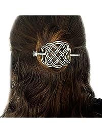 Viking Celtic Hair Clips Hairpins- Viking Hair Accessories Celtic Knot Hair Pins Antique Silver Hair Sticks Irish Hair Decor Accessories for Long Hair Jewelry Braids Hair Slide Clip with Stick