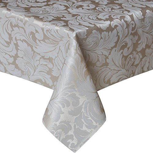 ColorBird Scroll Damask Jacquard Tablecloth Spillproof Heavy Weight Fabric Table Cover for Kitchen Dinning Tabletop Linen Decor (Rectangle/Oblong, 60 x 102 Inch, (Damask Clothes)