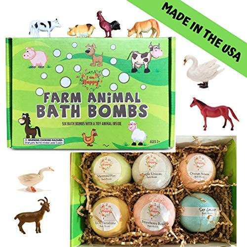 Kids Bath Bombs with Surprise Inside: Farm Animal Toys Inside, Great Bath Bombs Gift Set for Boys and Girls, Safe Ingredients that Don't Stain the Tub -