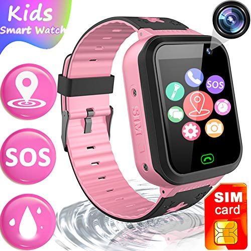[Free SIM Card]Upgrade Kids Smart Watch Phone, GPS Tracker Watch SOS Voice Chat for 4-12 Years Old Boys Girls Waterproof Smartwatch Anti-Lost Flashlight Learning Games Wrist Watch Back to School Gift