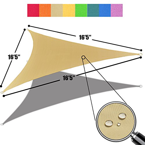 Canvas Awnings (Alion Home 16'5'' x 16'5''x 16'5'' Triangle Waterproof Woven Sun Shade Sail in Vibrant Colors (Desert Sand))