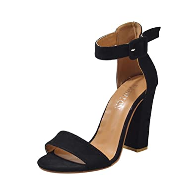 b5a8a63582c8d6 Sandales Plates Chaussures Escarpins Tamaris,Femmes Boucle Sangle Dames  Cheville Talons Hauts Sandales Bloc Fête Chaussures,Vin Vert Noir, Taille  35-43: ...