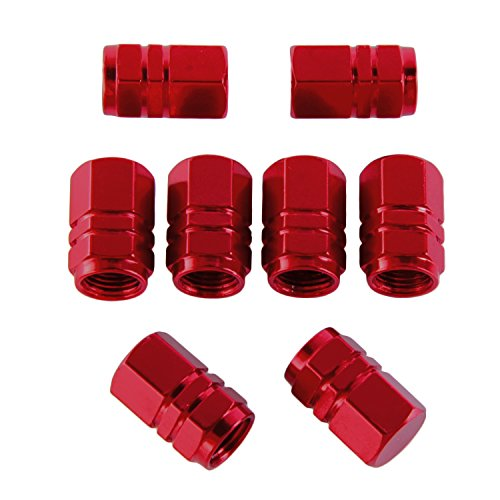 eBoot 8 Pieces Tire Stem Valve Caps Wheel Valve Covers Car Dustproof Tire Cap, Hexagon Shape (Red)