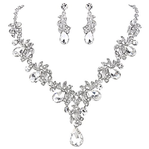 BriLove Women's Wedding Bridal Statement Necklace Dangle Earrings Jewelry Set with Crystal Teardrop Filigree Leaf Twig Clear Silver-Tone by BriLove