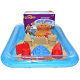 Motion Sand® Motion Castle - 4.4 lbs / 2,000g of Kinetic Motion Play Sand - Includes Inflatable Play Sand Box with Molds - Color of Play Sand and Molds May Vary