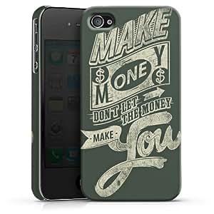 Carcasa Design Funda para Apple iPhone 4 / 4S PremiumCase white - Make Money - Don't let the Money make you