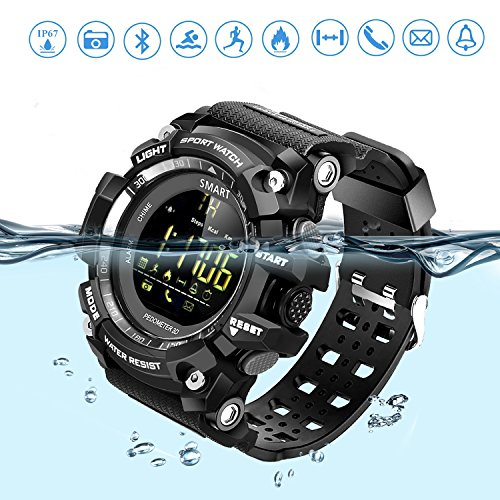 Sports Smart Watch Bluetooth Watch Pedometer Fitness Tracker Wearable Technology IP67 Waterproof Remote Camera Running Equipment for Android and IOS Smartphones Best Choice for Men and Boys Black