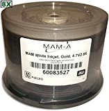 4.7 GB MAM-A (Mitsui) White Inkjet Printable/GOLD 8X DVD+R 50-Pak in Cakebox