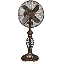 Prestige Rustica Oscillating Pedestal Fan with 3 Speed Made w/ Metal in Brown Finish 30 H x 12 W x 4.5 D in.