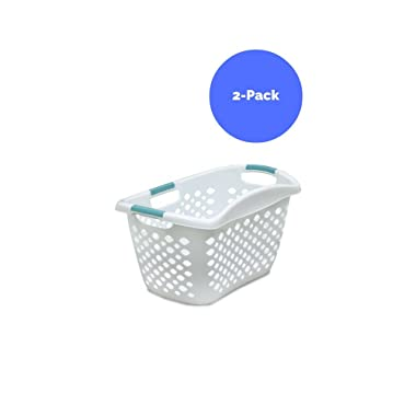 Home Logic 1.8-Bu Large-Capacity Hip Grip Laundry Basket, White - 2-Pack