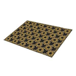 Eryoubs Doormat Metal Flowers Black-Gold-Large Door Mats Indoor
