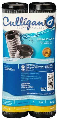 Culligan D-10A Level 1 Drinking Water Replacement Cartridge Carbon-Impregnated Cellulose 2 pack Size: 9.75 H x 2.5 W x 2.5 D, Model: D-10A, Tools & Hardware - Impregnated Cartridge Carbon