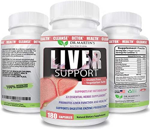 Liver Support Supplement | 180 Veggie Capsules | 22 Essential Natural Herbs to Support, Cleanse, Detox & Repair Your Liver with Artichoke Extract, Milk Thistle & Dandelion | for Men and Women