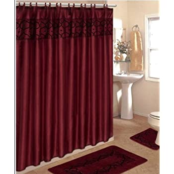 4 Piece Bathroom Rug Set 3 Burgundy Flocking Bath Rugs With Fabric Shower Curtain