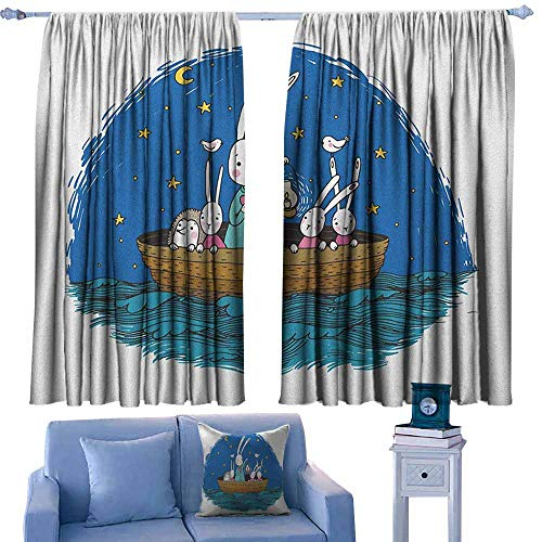 GAAGS Curtain Tailored,Kids Little Bunnies and Hedgehog Floating in a Boat on The Wavy River Under a Night Sky,for Bedroom,Nursery,Living Room,W63x63L Inches Multicolor -