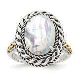 ICE CARATS 925 Sterling Silver 14k Mop Band Ring Size 6.00 Pearl Shell Fine Jewelry Gift Set For Women Heart