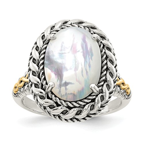 ICE CARATS 925 Sterling Silver 14k Mop Band Ring Size 6.00 Pearl Shell Fine Jewelry Gift Set For Women Heart by ICE CARATS (Image #2)