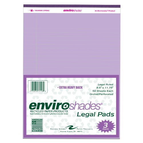 """Roaring Spring Enviroshades 8.5"""" x 11.75"""" Orchid Legal Pads, 3/pack"""