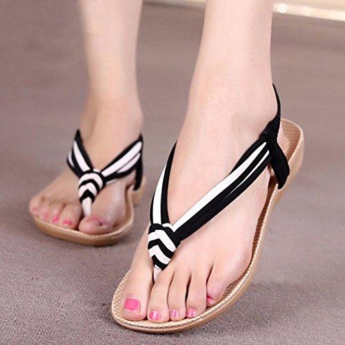 Amiley® Damesmode Stoffen Streep Bohemien Platte String Sandalen Strandschoenen Zwart