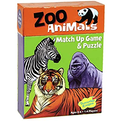 Peaceable Kingdom Zoo Animals 24 Card Match Up Memory Game and Floor Puzzle for Kids: Toys & Games