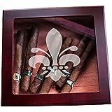 Fleur De Lis Custom Glass Top Wood Cigar Humidor Groomsmen Wedding and Unique Christmas Gifts