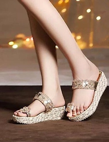 ShangYi Sandaletten für Damen Damenschuhe - Sandalen - Kleid - Kunstleder - Keilabsatz - Komfort - Gold golden