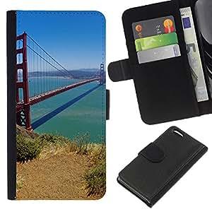 EJOY---La carpeta del tirón la caja de cuero de alta calidad de la PU Caso protector / Apple Iphone 5C / --Puente de San Francisco