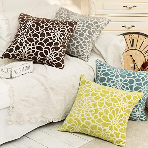 2b1ab38736b March Flower Throw Pillows Covers 100% Cotton Throw Pillows for Couch Bed  Decorative Square Cushions