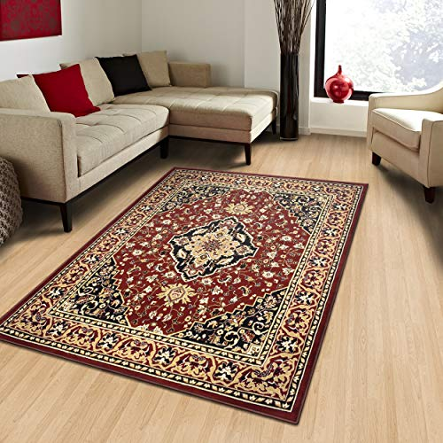 Superior Elegant Glendale Collection Area Rug, 8mm Pile Height with Jute Backing,  Traditional Oriental Rug Design, Anti-Static, Water-Repellent Rugs, 4' x 6' Rug, Red (Renewed) (Furniture Glendale)