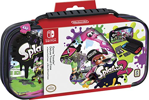 NINTENDO SWITCH DELUXE SPLATOON 2 TRAVEL CASE, PREMIUM HARD CASE MADE WITH PU LEATHER, ORIGINAL SPLATOON ART. SECURE FIT FOR SWITCH, DESIGNED TO PROTECT SWITCH'S ANALOG STICKS, PLUS 2 MULTI-GAME CASES - Original Premium Leather Case