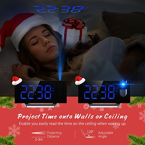 -[ FM Projection Alarm Clock with Dual Alarms, Digital Ceiling Clock with USB Charging Port, Snooze