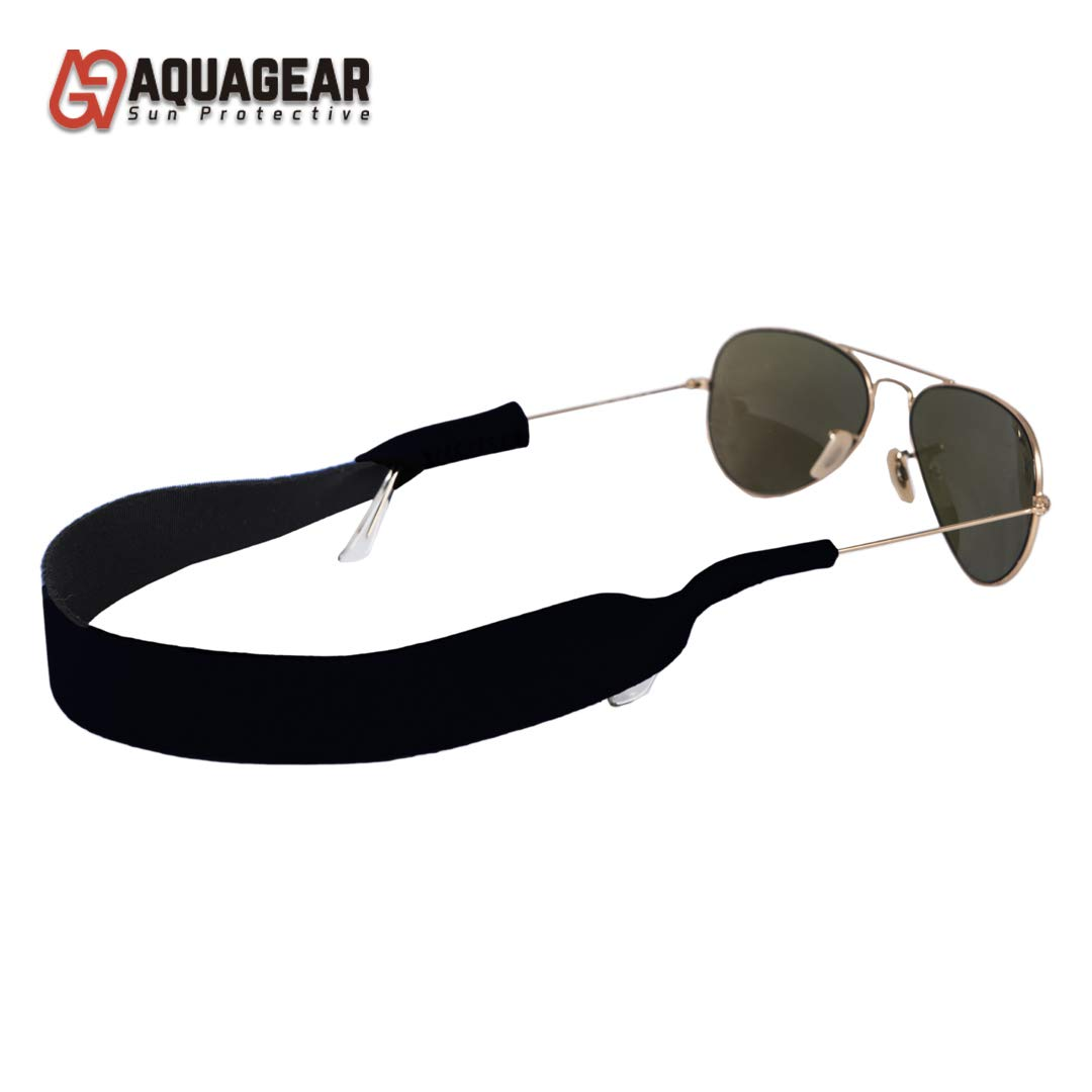 Aquagear - Sunglasses Strap - 2 Pack | Neoprene | All Sports uses - Fits All, Soft and Durable. Glasses Holder, Imported Materials. (Black) by Acquagear