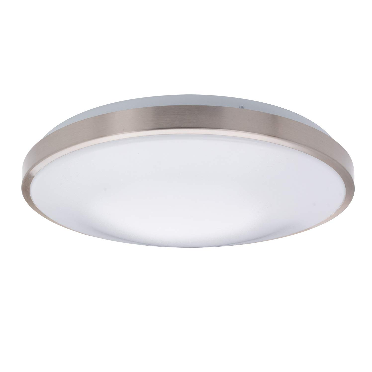 Details about ostwin 15 inch led dimmable flush mount ceiling light metal ring fixture round